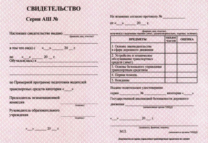 Свидетельство об окончании обучения в ГИБДД.