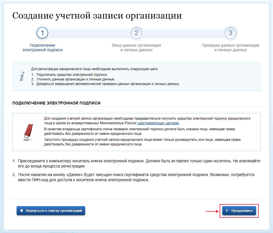 Создание учетной записи налогоплательщика при электронном документообороте