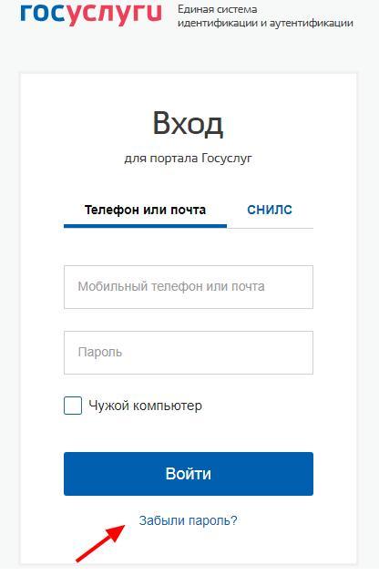 Восстановление пароля на сайте Госуслуг.