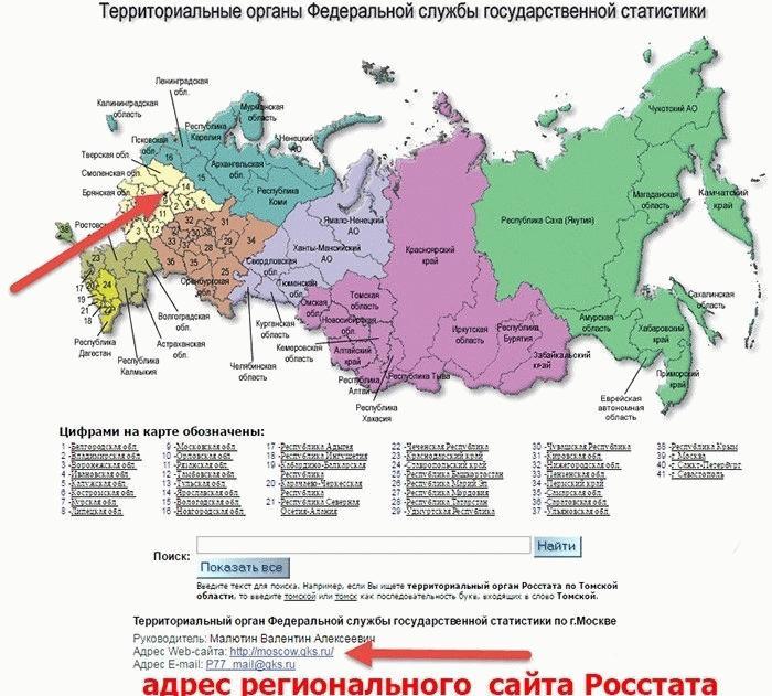 Карта Росстата