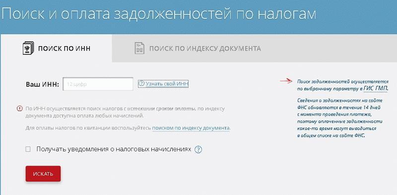 пример интерфейса бесплатного сервиса по поиску налоговых долгов