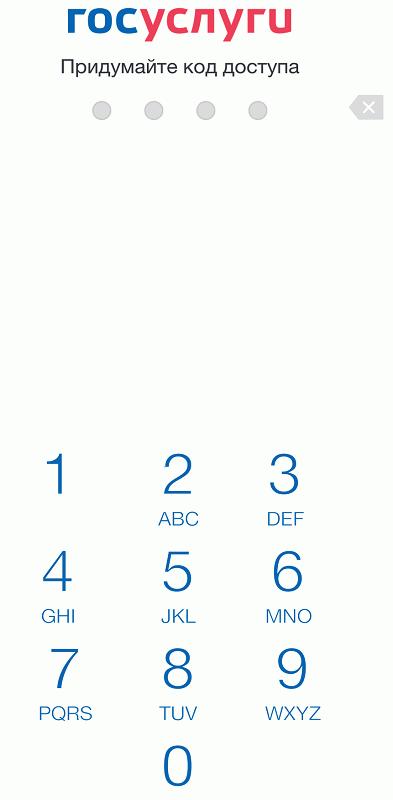 Экран для ввода четырехзначного кода защиты