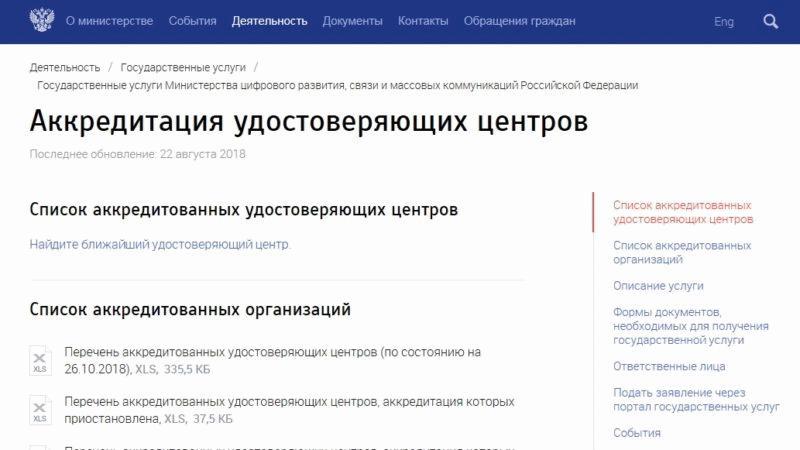 Список аккредитованных центров для выдачи ЭП на сайте Минком