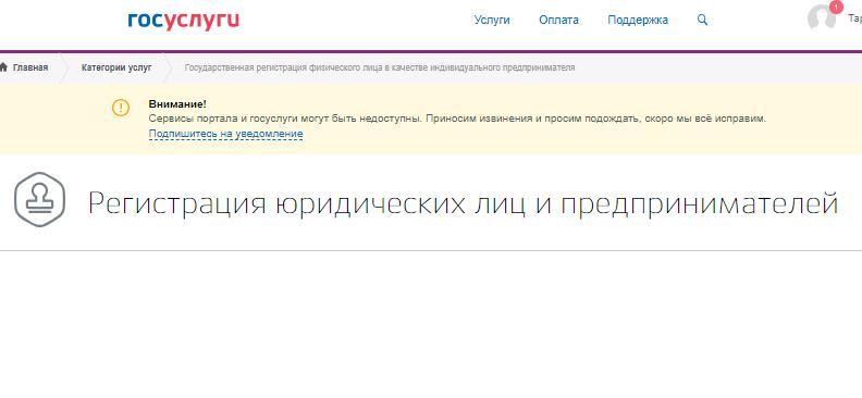 Страница заявки по регистрации ИП онлайн.