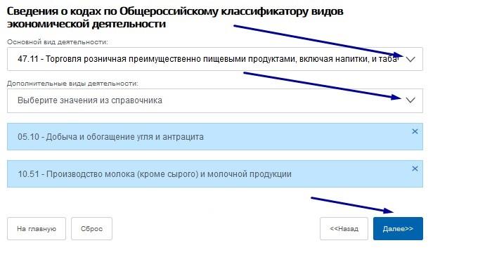 Коды по справочнику ОКВЭД