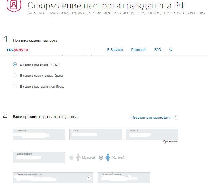 Электронная заявка на получение паспорта