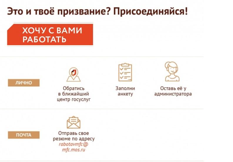 Способы подачи анкеты соискателя на вакансии МФЦ