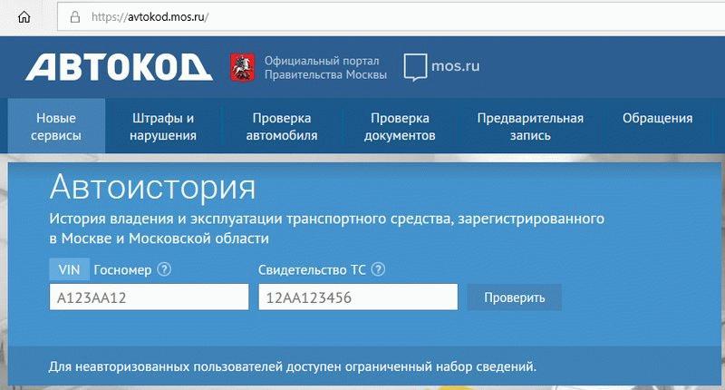 Проверка машины на сайте Правительства