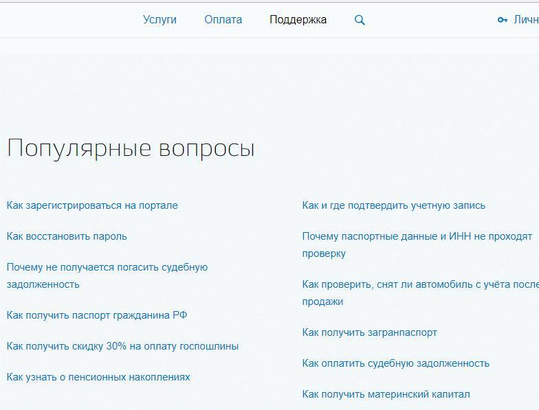 Страница сайта с разделом поддержки на госуслугах