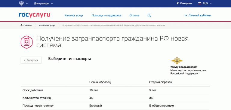 Страница направления заявления.