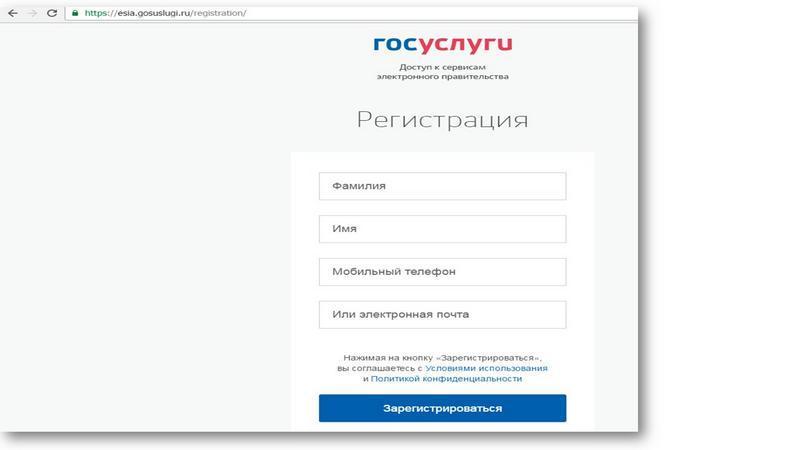 Заполнение полей анкеты регистрационной