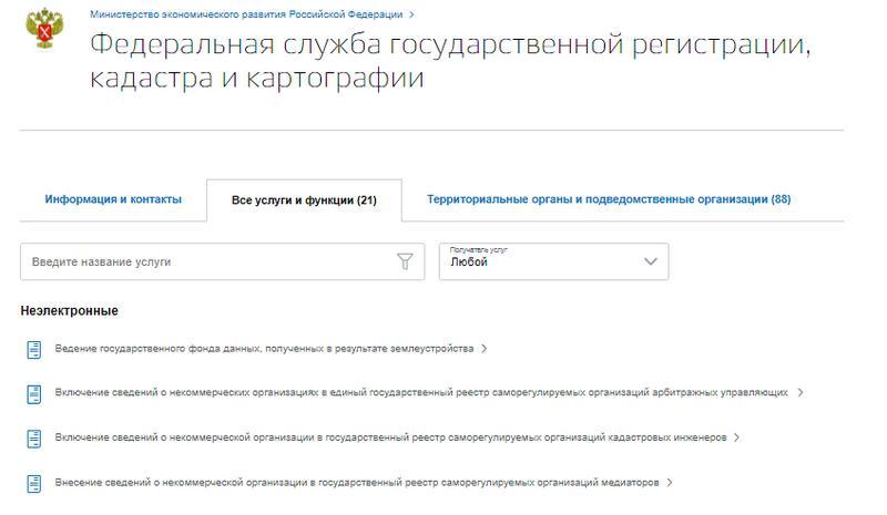 Список услуг и функций Росреестра.