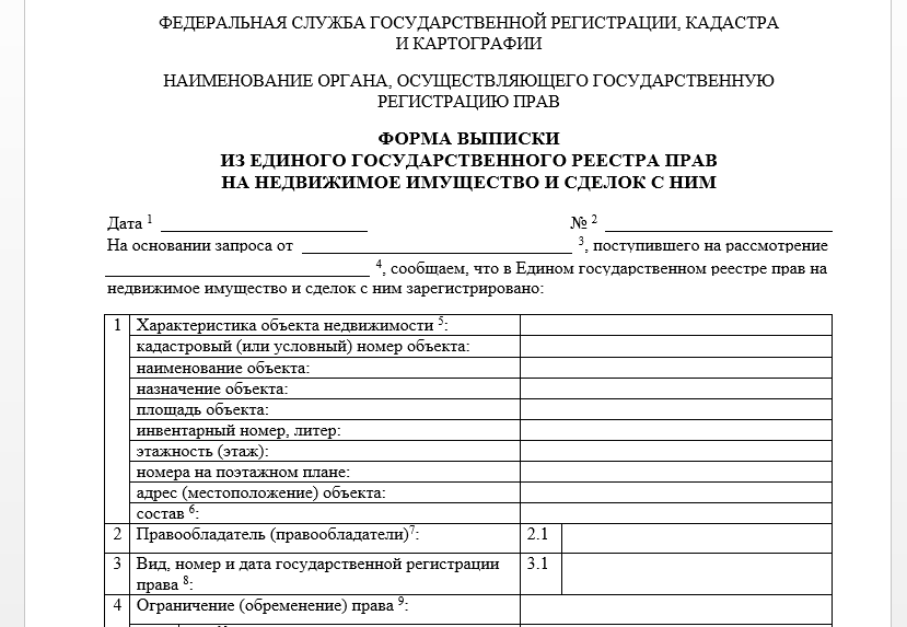 Форма выписки из ЕГРН